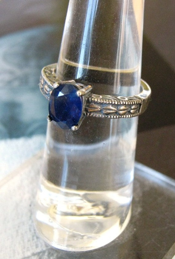 Genuine Earth Mine Blue Sapphire Solitaire Sterling Silver Patterned Heavy Band Ring Handmade custom size 4 5 6 7 8 9 10 11 fine jewelry