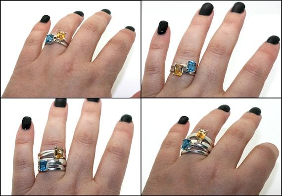 Emerald Cut Gemstone Solitaire Ring Sterling Silver Purple Amethyst Blue White Topaz Iolite handmade size 3 4 5 6 7 8 9 10 11 fine jewelry