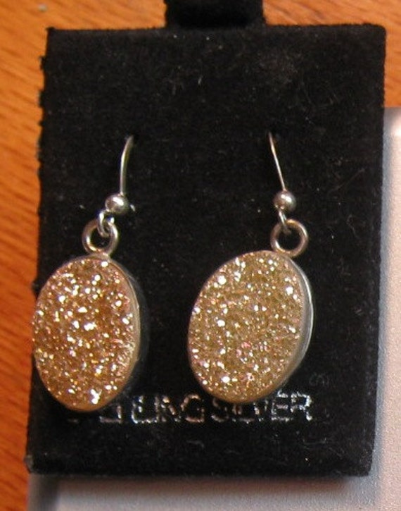 Copper Drusy Quartz Stone earrings in sterling