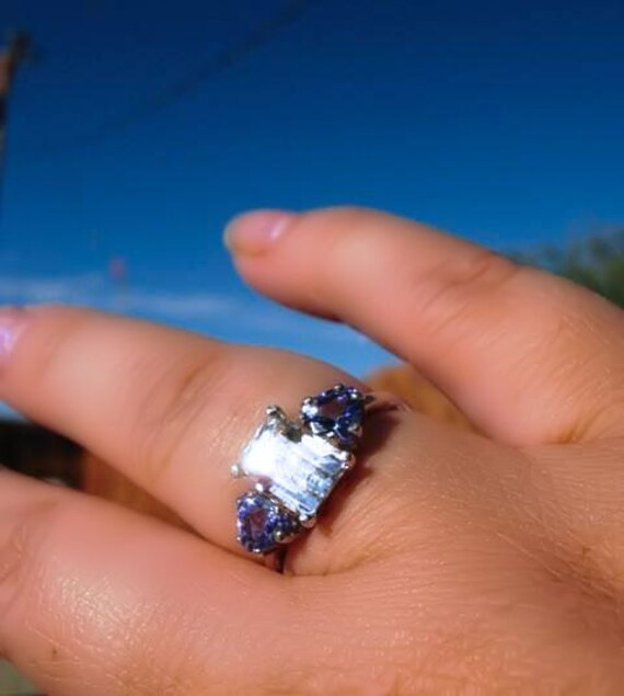 Custom 3 Gemstone Ring Sterling Siver Emerald Cut White Topaz Purple Tanzanite Pink Sapphire Green fine jewelry handmade 4 5 6 7 8 9 10 size