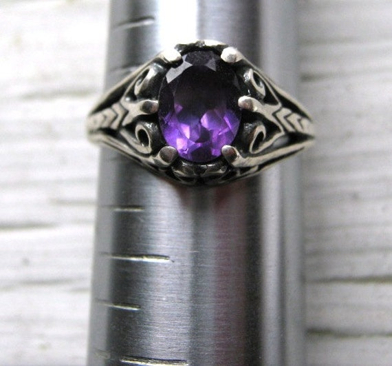 Deep Purple Amethyst Gemstone Filigree Ring Sterling Silver Handmade February Birthstone size 4 5 6 7 8 9 10 custom half sizes fine jewelry
