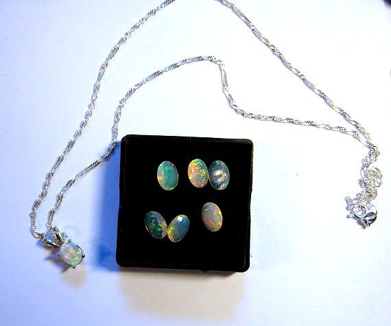 Genuine Faceted Ethiopian Welo Opal Pendant Necklace Sterling silver chain 16 18 20 inch fiery red orange blue green handmade fine jewelry
