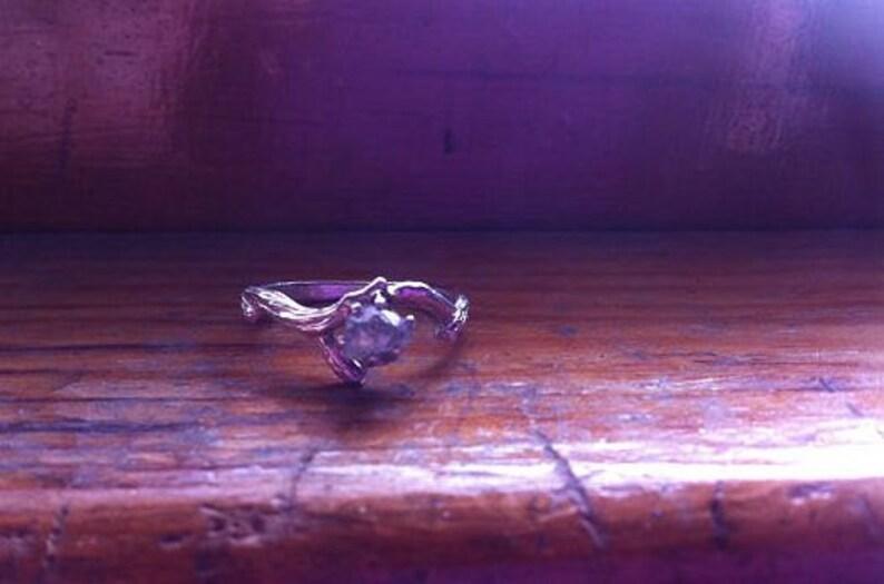 Genuine Raw Diamond Twig Ring Grey Black Stone Claw Mount image 0