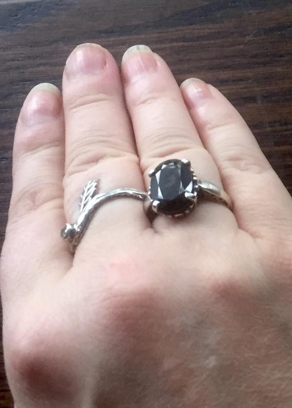 Choose Genuine Sapphire Midnight Blue / Spinel Black Ring Sterling Silver Custom Size 4 5 6 7 8 9 10 half Handmade Fine jewelry