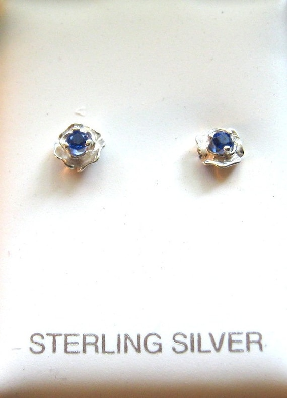 Sterling Silver Rose Stud Earrings Genuine Sapphire blue handmade white topaz purple amethyst iolite tanzanite citrine red ruby fine jewelry