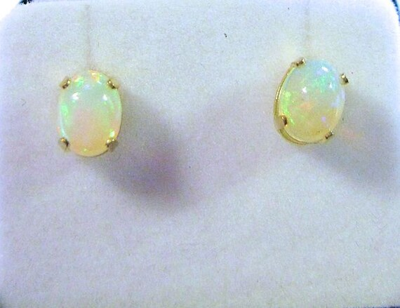 14k Gold Filled Ethiopian Opal Stud Earrings 8x6mm oval jelly opal green orange white yellow red handmade fine jewelry sterling silver