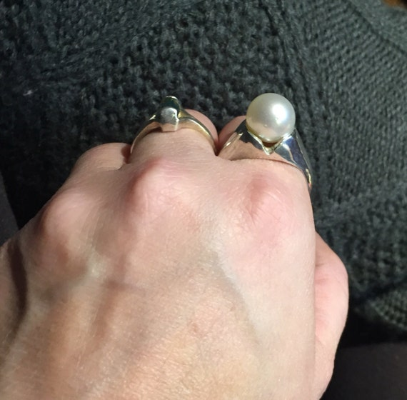 Full Moon Rising Huge Cream Pearl Ring 10mm Real Cultured South Sea White Sterling Silver handmade size 4 5 6 7 8 9 10 11 12 13 fine jewelry
