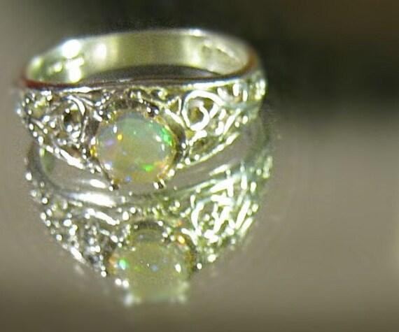 Ethiopian Opal Filigree Band Ring Sterling Silver Honey Yellow White Green Orange Unisex Handmade size 4 5 6 7 8 9 10 11 12 13 Fine Jewelry