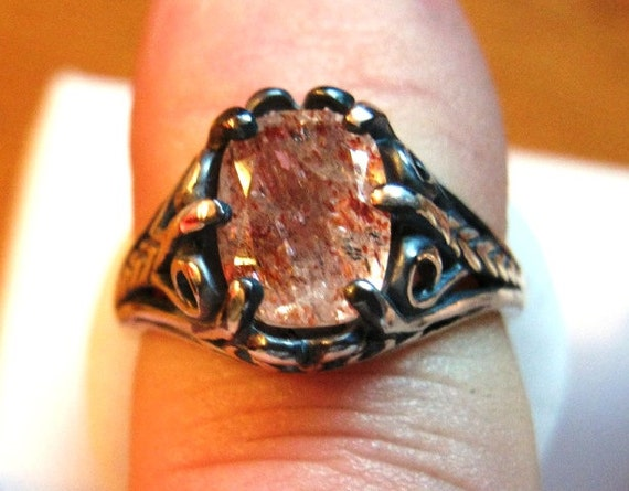 Genuine Sunstone Copper Inclusions Sterling Silver Ring Cushion Cut Handmade Unusual Oddity size 7