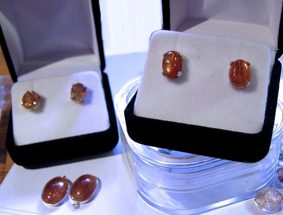 Genuine Fiery Orange Sunstone Stud or Dangle Earrings Sterling Silver custom sizes 7x5 8x6 10x8 14x10mm Copper handmade fine jewelry oddity