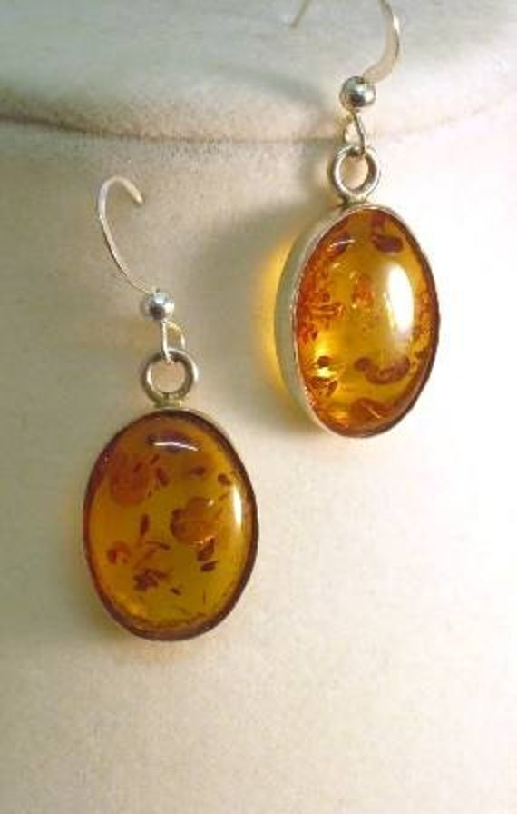 Genuine Prehistoric Tree Resin /Amber Earrings Sterling Silver 18x13mm Bezel Set handmade custom fine jewelry ear wires or lever back style