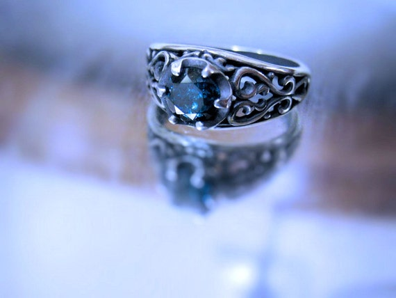 Deep Blue Diamond .80ct round brilliant Fancy Color Unisex Sterling Silver Band Ring Handmade size 4 5 6 7 8 9 10 11 1/2 fine jewelry