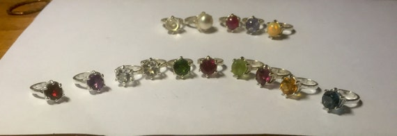 Tiny Engagement Ring Charm Sterling Silver custom Genuine Gemstone Birthstone CZ red garnet purple amethyst blue white topaz green diopside