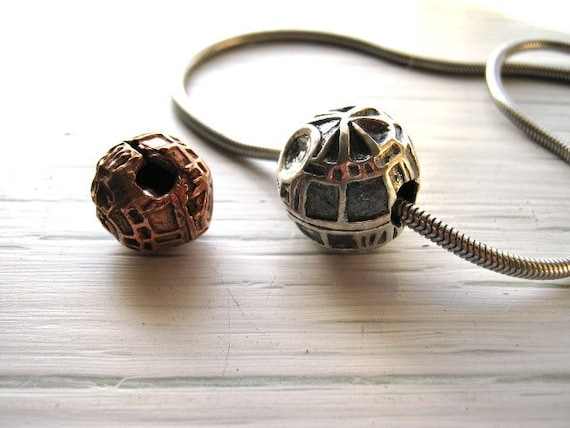 Hand Formed Death Star in Fine Silver/ Free Silver tone Omega Neck wire Included