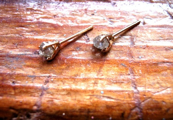 Raw Champagne Diamond Stud Earrings 14k Yellow /White Gold Natural octahedron crystal growth habit custom minimalist handmade fine jewelry