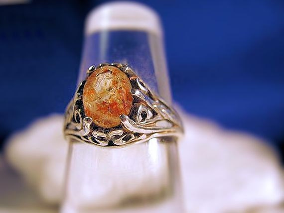 Sunstone Labradorite Ring in sterling silver Firey Orange flecks of copper handmade 4 5 6 7 8 9 10 half sizes fine jewelry unusual oddity