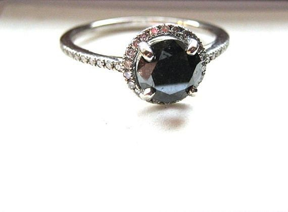 Genuine Black Diamond 7mm Round with White Diam Halo Engagement Wedding Set Ring 1+ cts 14k Gold Handmade size 6 6.5 7 7.5 8 Fine Jewelry