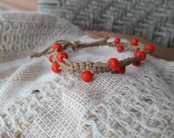 Hemp macrame beaded bracelet