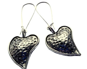 Dimpled Heart Earrings Long Textured Silver Plated Boho Jewellery