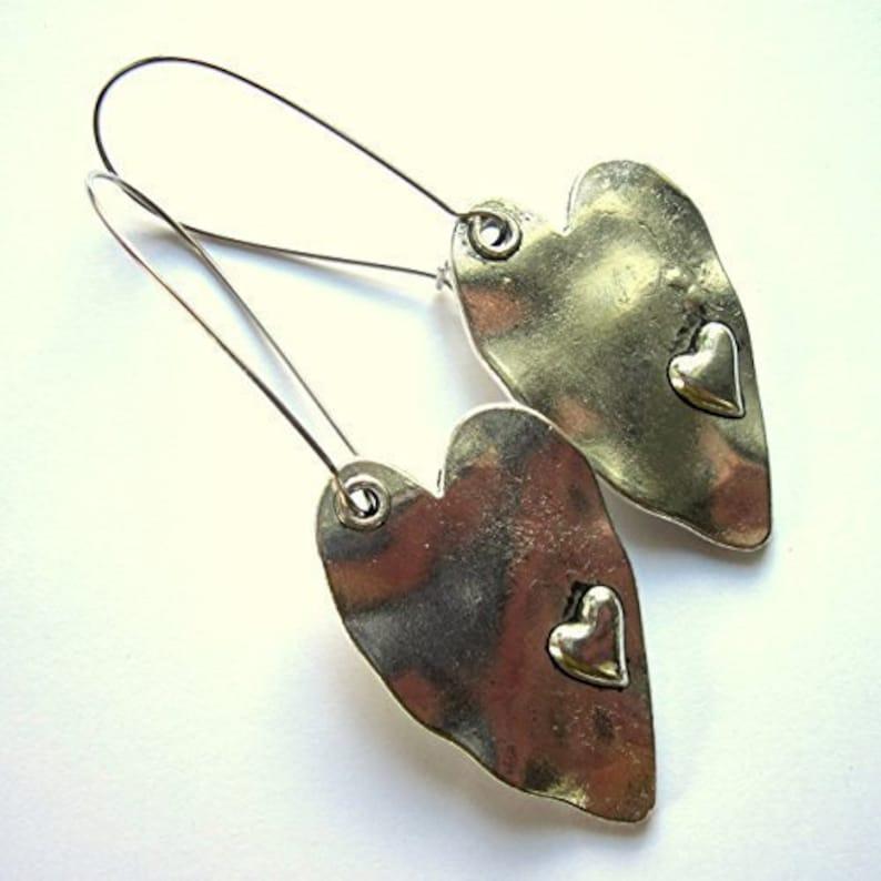 bd7666ef1 Boho Silver Heart Earrings Silver Plated Long Dangle Bohemian | Etsy