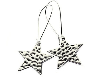 Star Earrings Textured Hammered Silver Plated Boho Jewellery