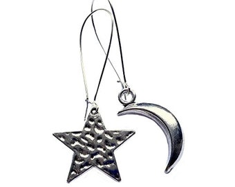 Moon and Star Mismatched Earrings Textured Silver Plated