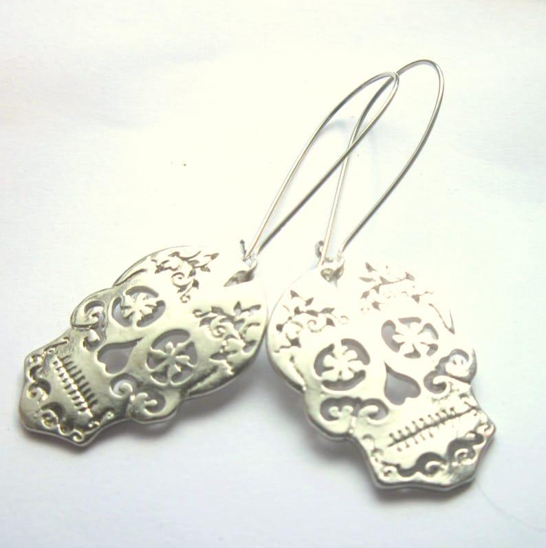 1a782da06 Halloween Sugar Skull Earrings Silver Plated Long Dangle Boho | Etsy