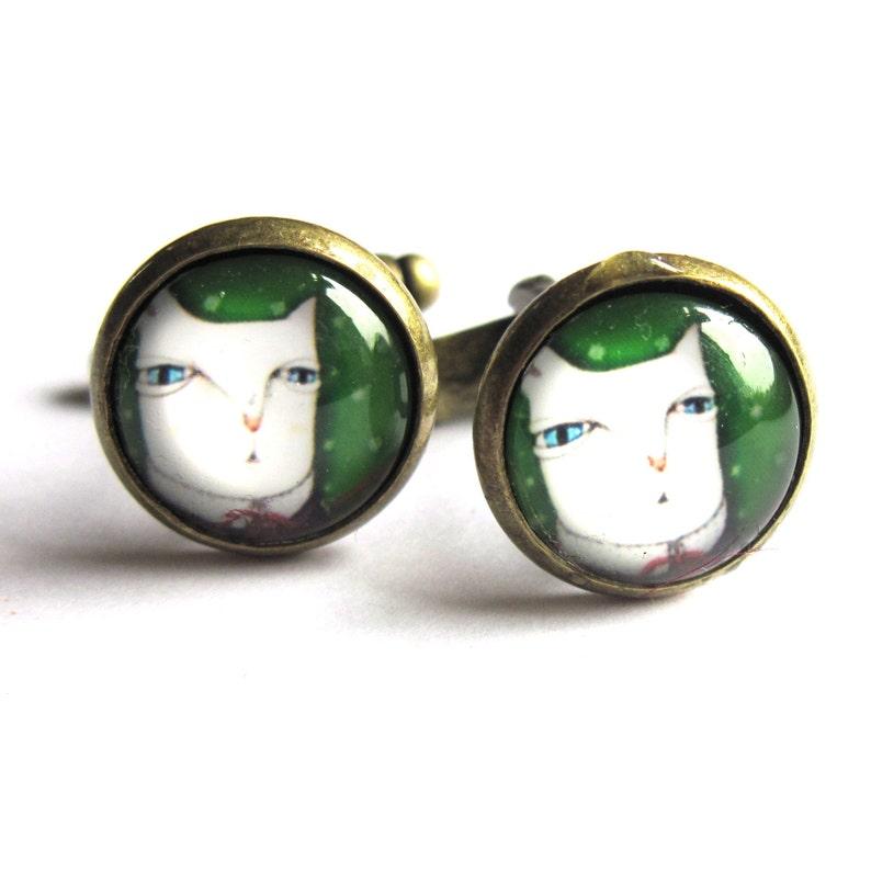 Cat Cufflinks Glass and Brass Mens Jewelry