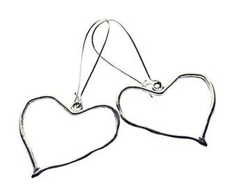 Crumpled Heart Earrings Long Silver Plated Boho Jewellery