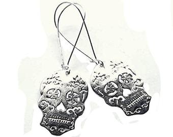 Halloween Sugar Skull Earrings Silver Plated Long Dangle Boho Jewellery