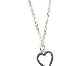 Small Heart Necklace 18 Inches Silver Plated Boho Jewelry