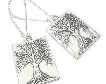 Tree of Life Earrings Textured Silver Plated Boho