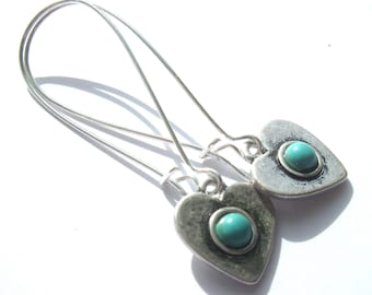 Turquoise Heart Earrings Silver Plated Nickel And Lead Free Boho Jewellery