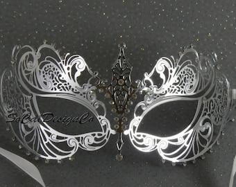 Masquerade Masks Woman, Silver Mask, Womans Mask, Metal Mask, Laser Cut, Masquerade, Venetian Mask, Mardi Gras Mask, Masquerade Ball Mask