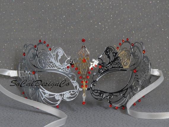 Black Ruby Red Crystal Laser Cut Venetian Mask Masquerade Metal Filigree