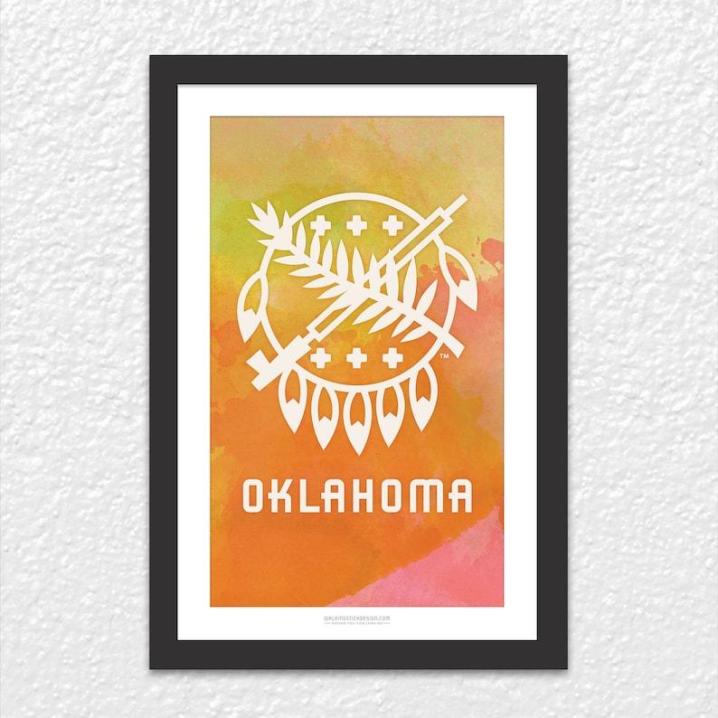 Printable 11x17 Posters Oklahoma Osage Shield Watercolor