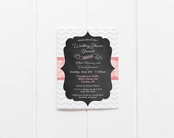 Chevron Chalkboard Wedding Shower Brunch Invitation - Printable