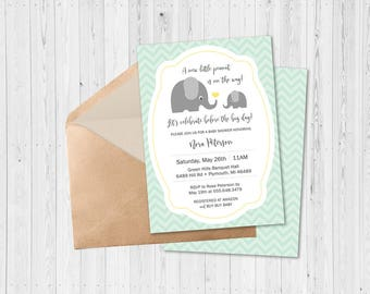 Elephant Baby Shower Invitation - Printable