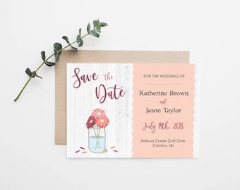 Rustic Mason Jar Wedding Save the Date - Printable