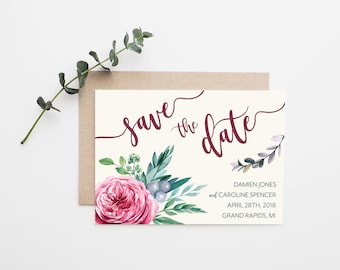 Floral Watercolor Wedding Save the Date - Printable