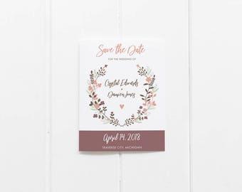 Floral Laurel Wreath Wedding Save the Date - Printable