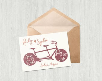 Tandum Bike Wedding Save the Date Card - Printable