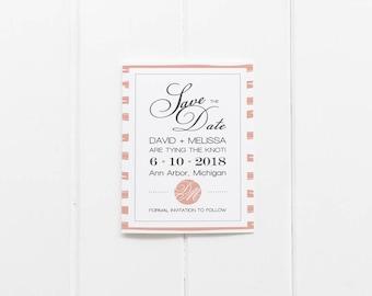 Striped Monogram Wedding Save the Date - Printable