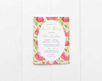 Watercolor Floral Bridal Shower Invitation - Printable