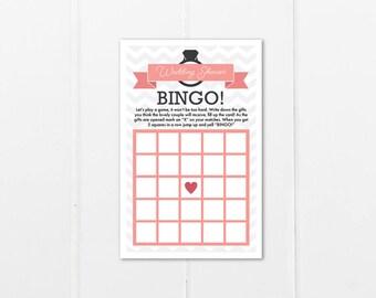 Chevron Wedding Shower Bingo Card - Printable