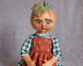Miss Cucurbita Pepo, a pumpkin doll by Jan Conwell