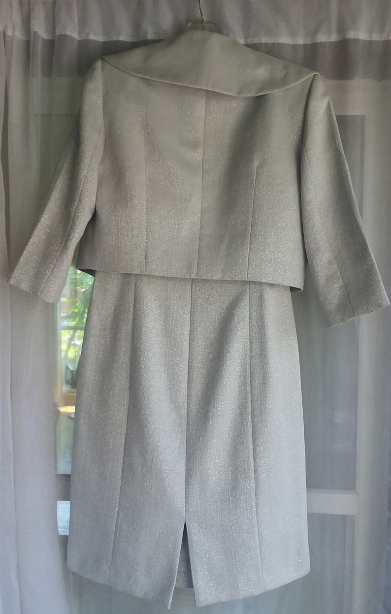 Stunning Vintage Clothing Heather Gray with Shimmer Arthur B Mint Condition Tahari Luxe Sleeveless Dress with Jacket Levine Size 6