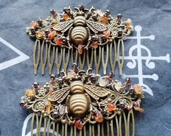 steampunk accessories decorative combs Steampunk bumble Bee  hair combs octopus hair slides hair accessories