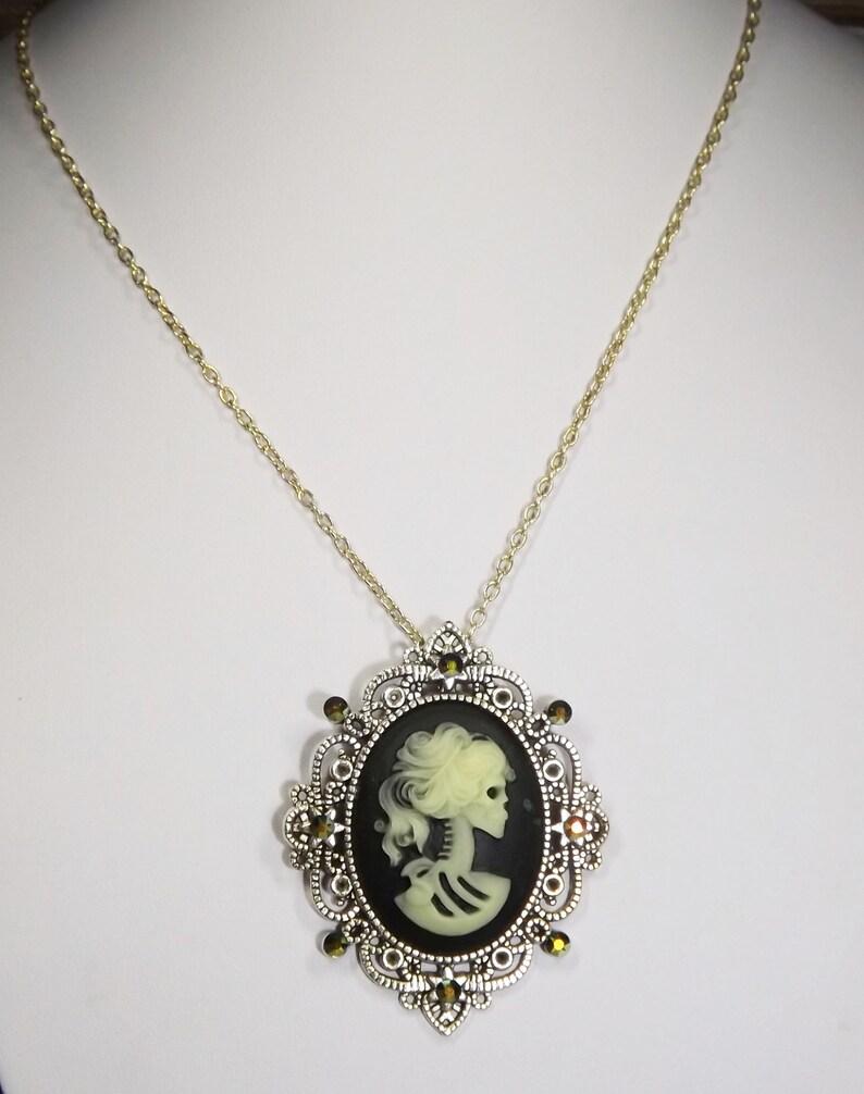 Sugar skull necklace skull jewellery,gothic necklace goth jewellery glow in the dark