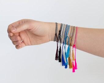 Silver Threaded Tassel Bracelets, Delicate Dainty Tassel Silver Jewelry Boho Bohemian